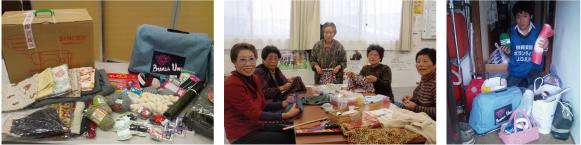 【写真左より】今回支援したミシンや裁縫道具など/仙台市岡田西町仮設住宅の皆さん/仙台津波復興支援センター