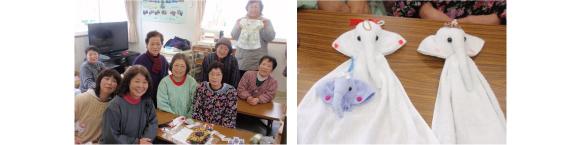 【写真左より】岩手県大船渡市太田仮設住宅の皆さん/手作りされた作品